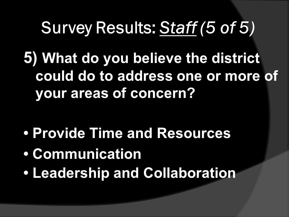 Survey Results: Staff (5 of 5) 5) What do you believe the district could do to address one or more of your areas of concern.