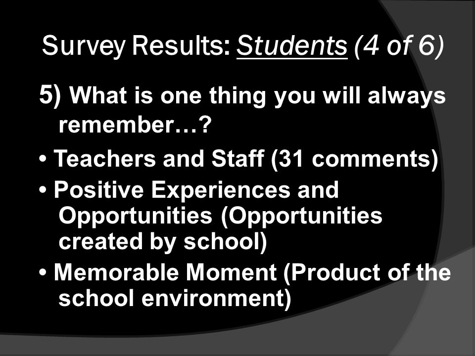 Survey Results: Students (4 of 6) 5) What is one thing you will always remember….