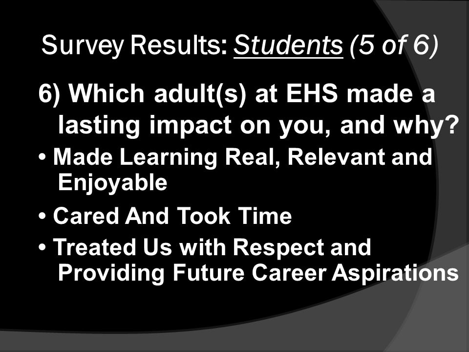 Survey Results: Students (5 of 6) 6) Which adult(s) at EHS made a lasting impact on you, and why.