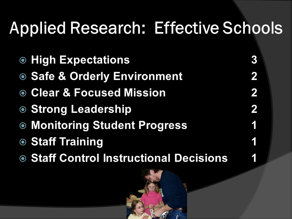 Applied Research: Effective Schools  High Expectations3  Safe & Orderly Environment2  Clear & Focused Mission2  Strong Leadership2  Monitoring Student Progress1  Staff Training1  Staff Control Instructional Decisions 1
