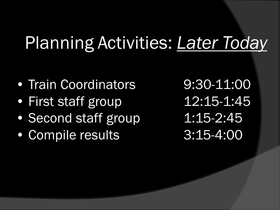 Planning Activities: Later Today Train Coordinators9:30-11:00 First staff group12:15-1:45 Second staff group1:15-2:45 Compile results3:15-4:00