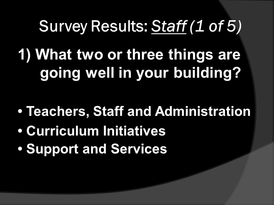 Survey Results: Staff (1 of 5) 1) What two or three things are going well in your building.