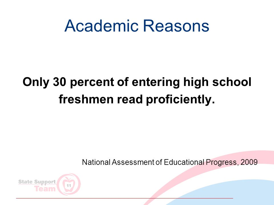Academic Reasons Only 30 percent of entering high school freshmen read proficiently.