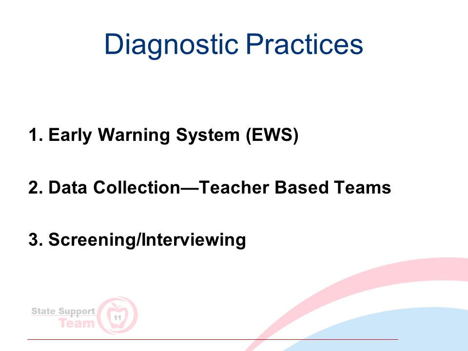 Diagnostic Practices 1. Early Warning System (EWS) 2.