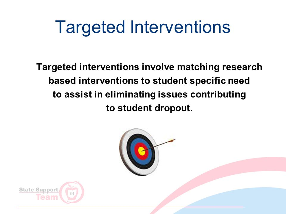 Targeted Interventions Targeted interventions involve matching research based interventions to student specific need to assist in eliminating issues contributing to student dropout.