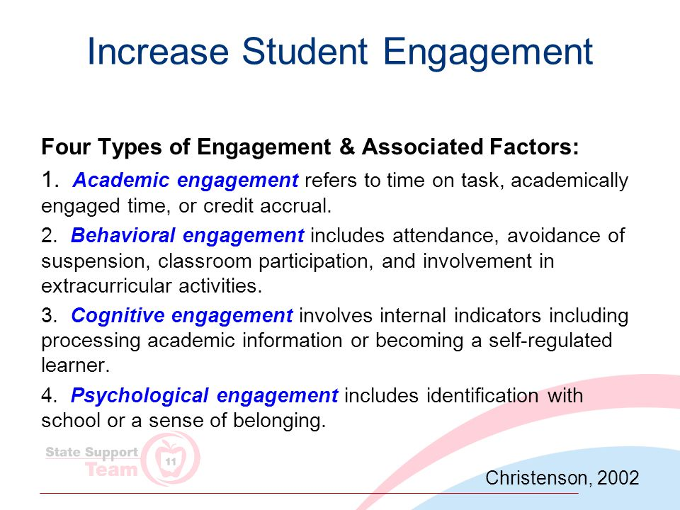 Increase Student Engagement Four Types of Engagement & Associated Factors: 1.