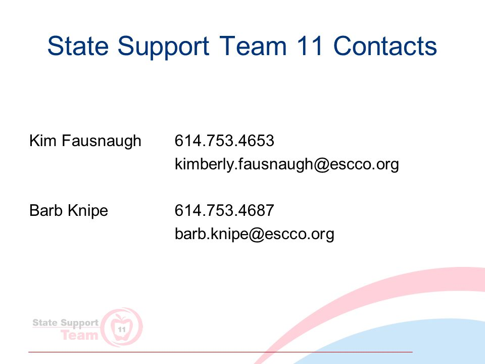 State Support Team 11 Contacts Kim Fausnaugh 614.753.4653 kimberly.fausnaugh@escco.org Barb Knipe614.753.4687 barb.knipe@escco.org