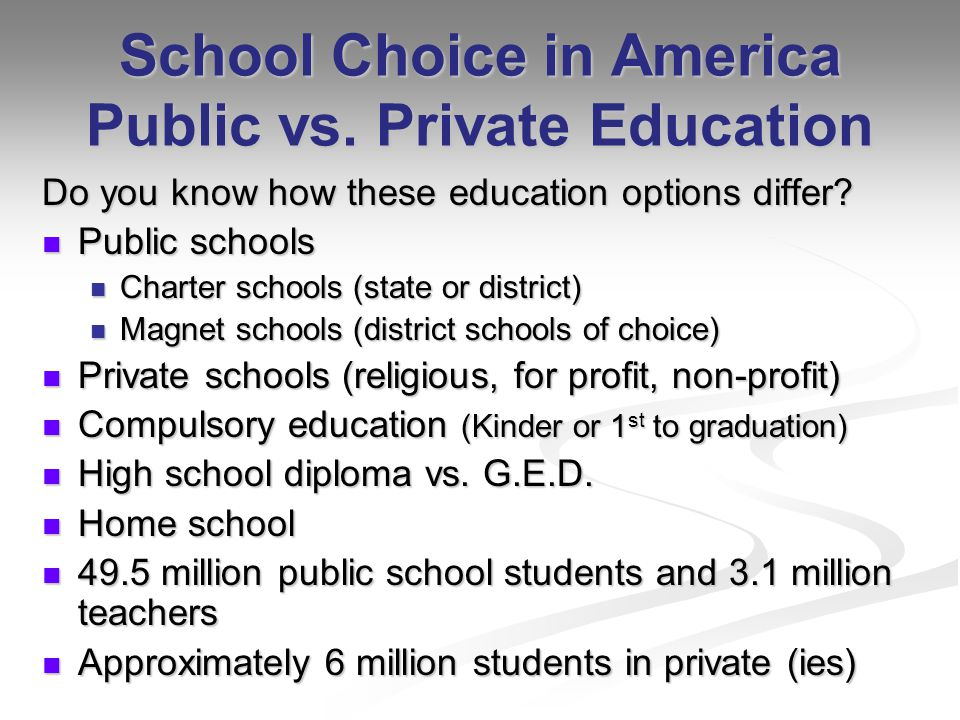 School Choice in America Public vs. Private Education Do you know how these education options differ? Public schools Public schools Charter schools (s