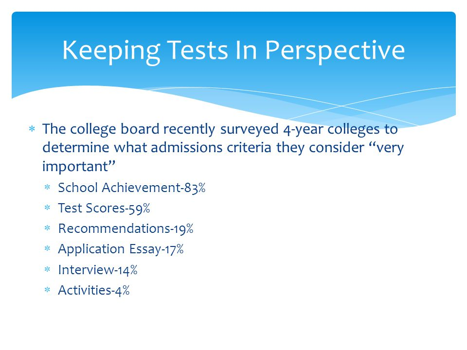  The college board recently surveyed 4-year colleges to determine what admissions criteria they consider very important  School Achievement-83%  Test Scores-59%  Recommendations-19%  Application Essay-17%  Interview-14%  Activities-4% Keeping Tests In Perspective