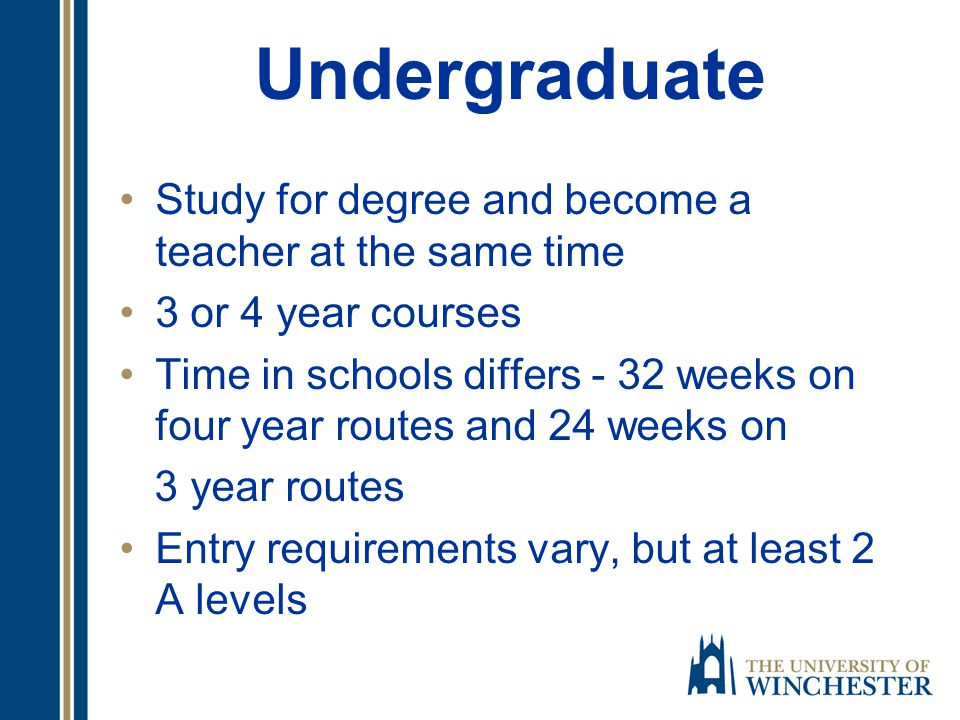 All routes into teaching lead to QTS Undergraduate training routes Gain a degree and QTS together Postgraduate routes Obtain a degree and build upon it by then training to be a teacher Info TDA website http://www.tda.gov.uk/recruit/becomingatea cher http://www.tda.gov.uk/recruit/becomingatea cher