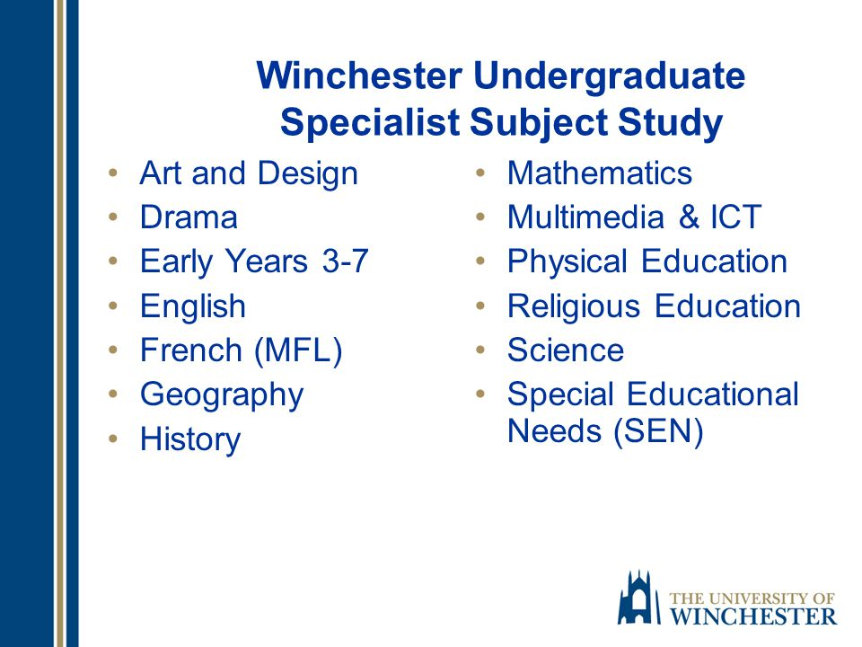 Teaching routes at the University of Winchester Undergraduate three or four year degree leading to QTS and BA (Hons) Primary Education Postgraduate full-time, one year programme PGCE (5-11) Postgraduate part time programme PGCE 5-11 (2 years)