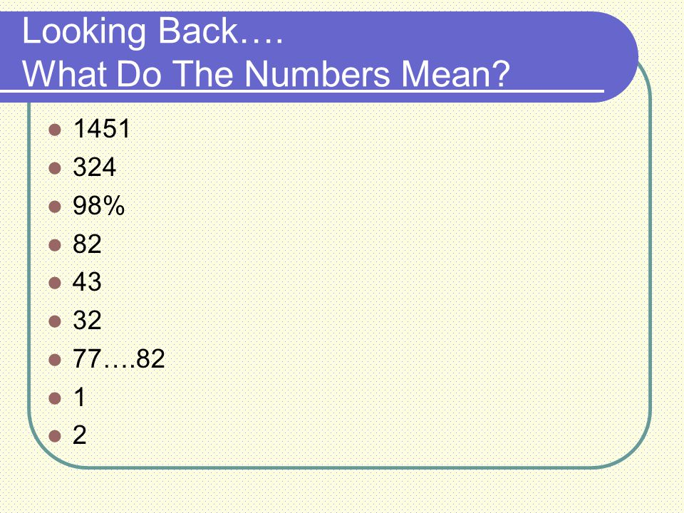 Looking Back…. What Do The Numbers Mean 1451 324 98% 82 43 32 77….82 1 2