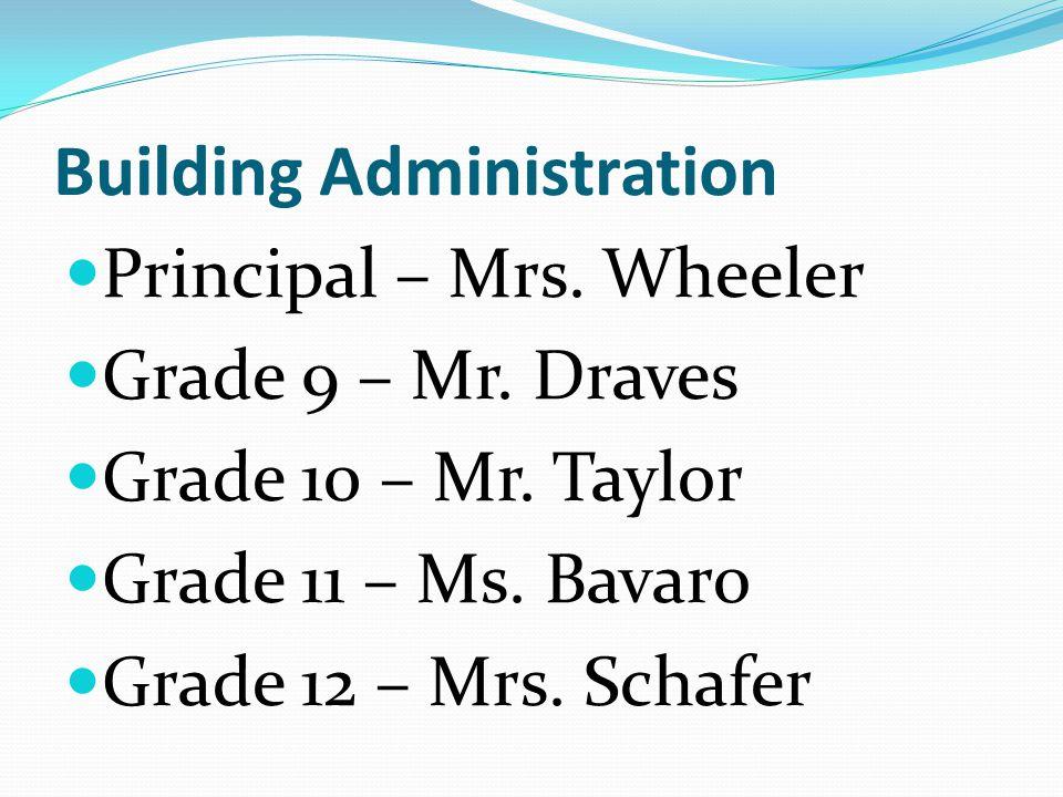 Building Administration Principal – Mrs.Wheeler Grade 9 – Mr.