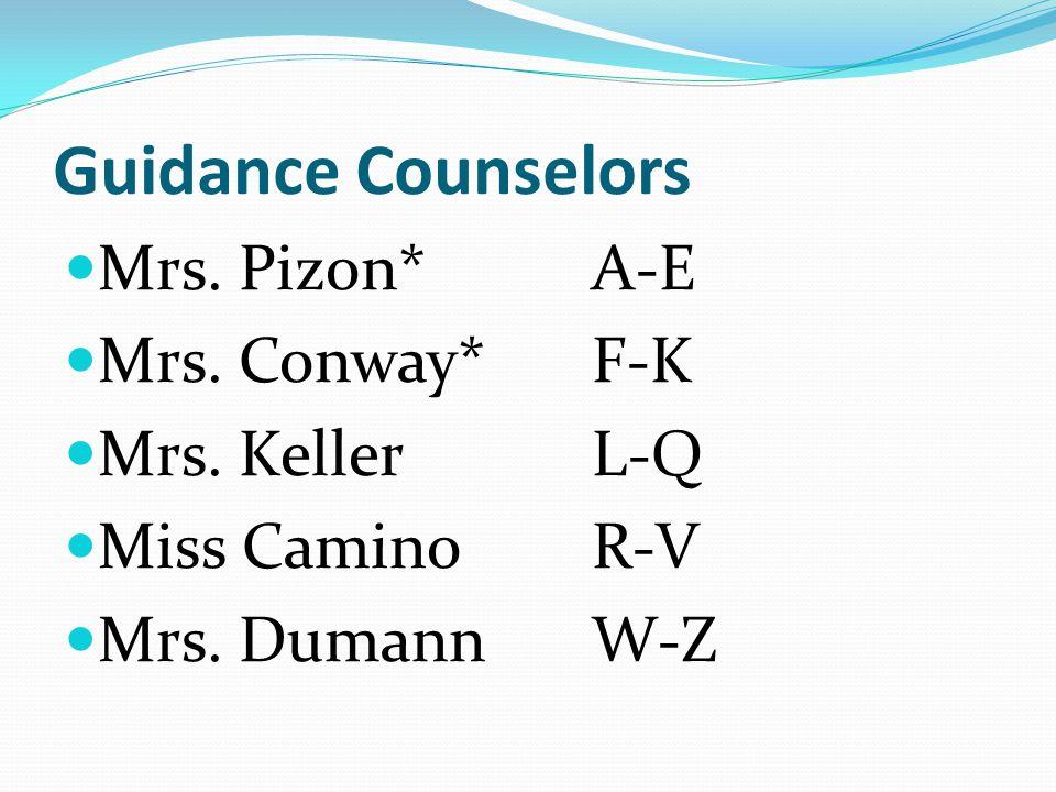 Guidance Counselors Mrs. Pizon*A-E Mrs. Conway*F-K Mrs. KellerL-Q Miss CaminoR-V Mrs. DumannW-Z