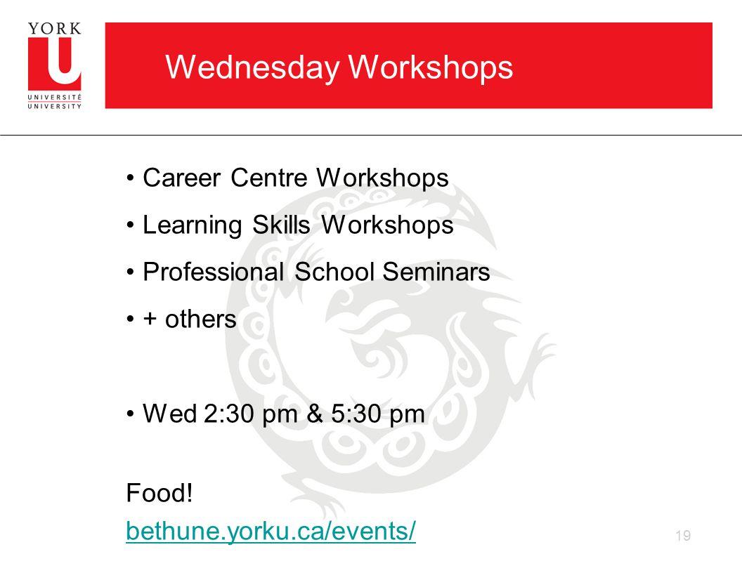 Wednesday Workshops Career Centre Workshops Learning Skills Workshops Professional School Seminars + others Wed 2:30 pm & 5:30 pm Food.