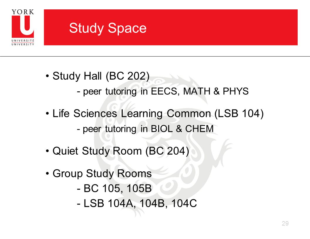 Study Space Study Hall (BC 202) - peer tutoring in EECS, MATH & PHYS Life Sciences Learning Common (LSB 104) - peer tutoring in BIOL & CHEM Quiet Study Room (BC 204) Group Study Rooms - BC 105, 105B - LSB 104A, 104B, 104C 29