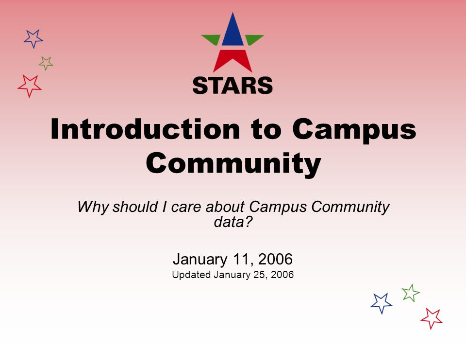 Introduction to Campus Community Why should I care about Campus Community data? January 11, 2006 Updated January 25, 2006