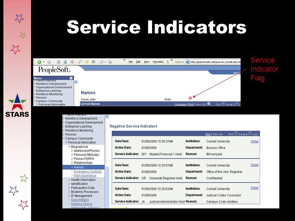 Service Indicators Service Indicator Flag