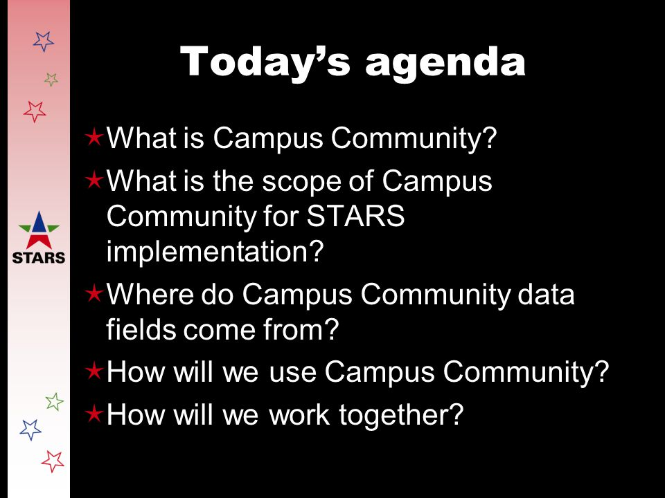 Today's agenda  What is Campus Community.