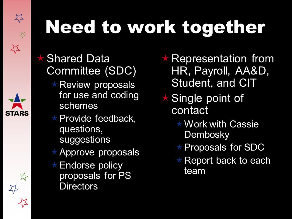 Need to work together  Shared Data Committee (SDC)  Review proposals for use and coding schemes  Provide feedback, questions, suggestions  Approve proposals  Endorse policy proposals for PS Directors  Representation from HR, Payroll, AA&D, Student, and CIT  Single point of contact  Work with Cassie Dembosky  Proposals for SDC  Report back to each team