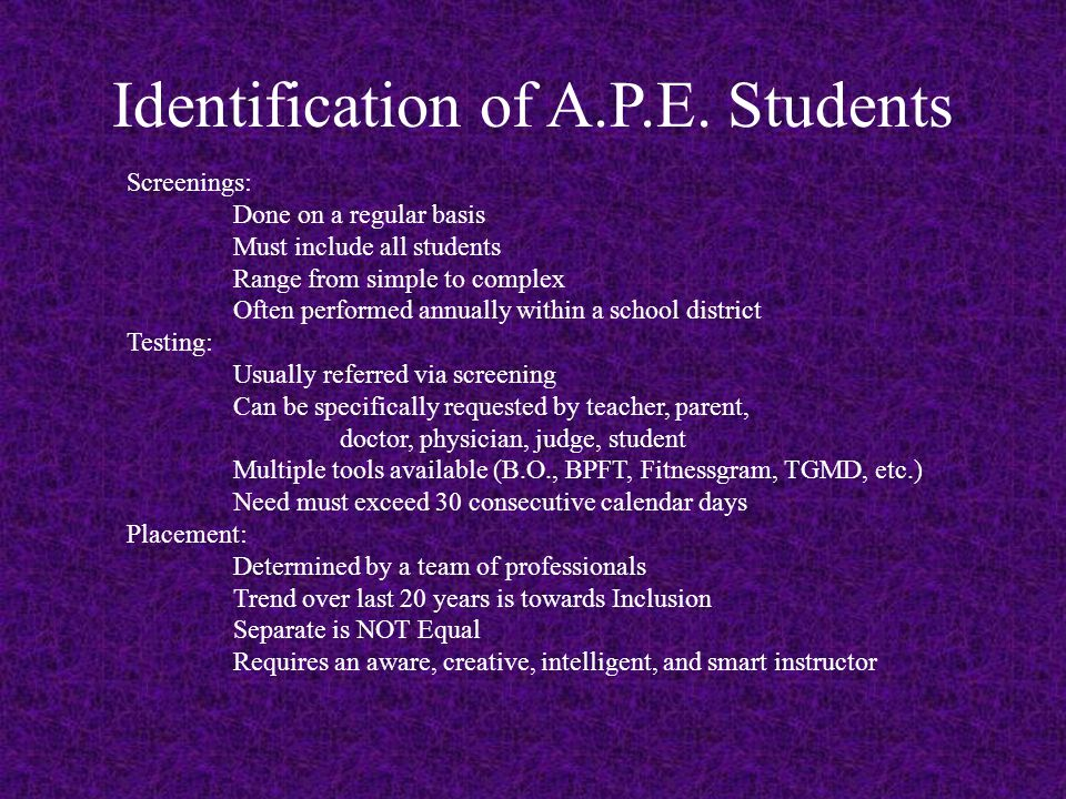 Identification of A.P.E.