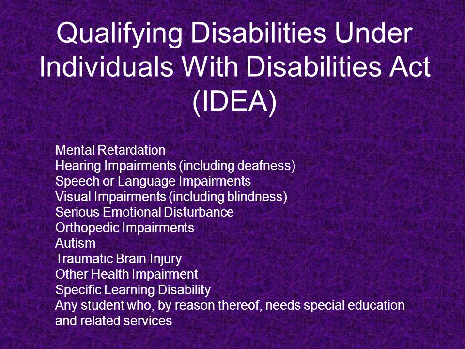 Special Education Not your parents' SPED Under IDEA, Special Education is defined as: Specifically designed instruction, at no cost to parents, to meet the unique needs of a child with a disability including: Instruction conducted in the classroom, the home, in hospitals and institutions, and in other settings; and Instruction in Physical Education.