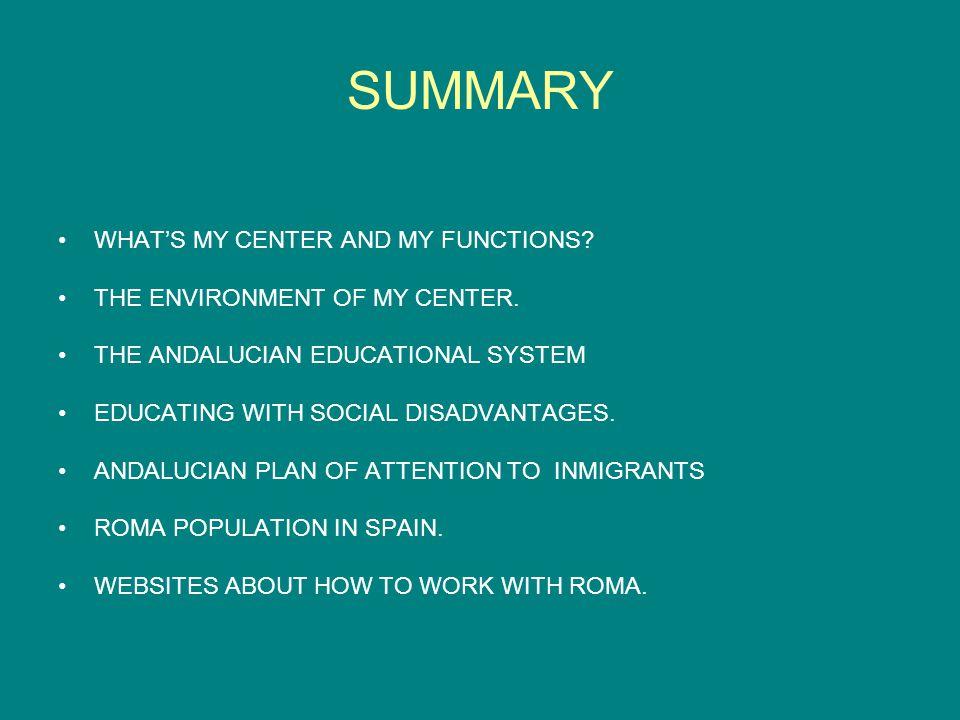 SUMMARY OF THE EDUCACIONAL SYSTEM