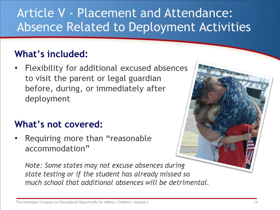 The Interstate Compact on Educational Opportunity for Military Children / Module 1 14 Article V - Placement and Attendance: Absence Related to Deploym