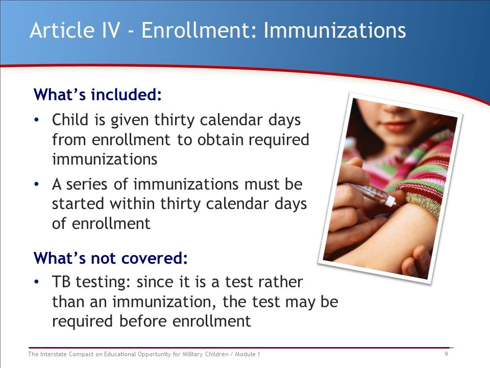 The Interstate Compact on Educational Opportunity for Military Children / Module 1 9 Article IV - Enrollment: Immunizations What's included: Child is