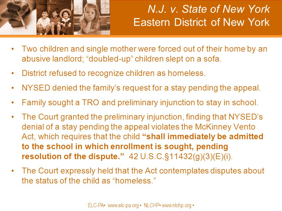 "N.J. v. State of New York Eastern District of New York Two children and single mother were forced out of their home by an abusive landlord; ""doubled-u"