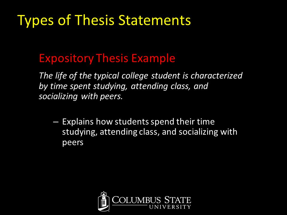 Types of Thesis Statements Expository Thesis Example The life of the typical college student is characterized by time spent studying, attending class,