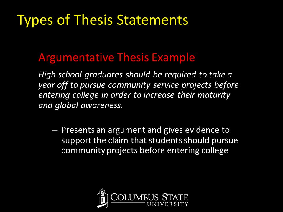Types of Thesis Statements Argumentative Thesis Example High school graduates should be required to take a year off to pursue community service projec