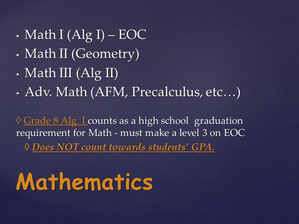 Math I (Alg I) – EOC Math I (Alg I) – EOC Math II (Geometry) Math II (Geometry) Math III (Alg II) Math III (Alg II) Adv.