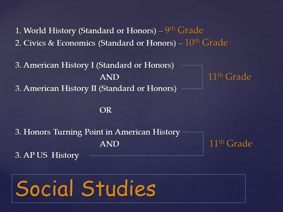 Social Studies 1. World History (Standard or Honors) – 9 th Grade 2.