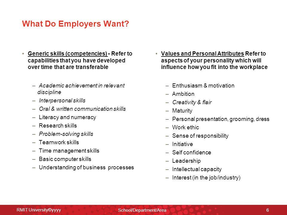 RMIT University©yyyy School/Department/Area 6 What Do Employers Want.