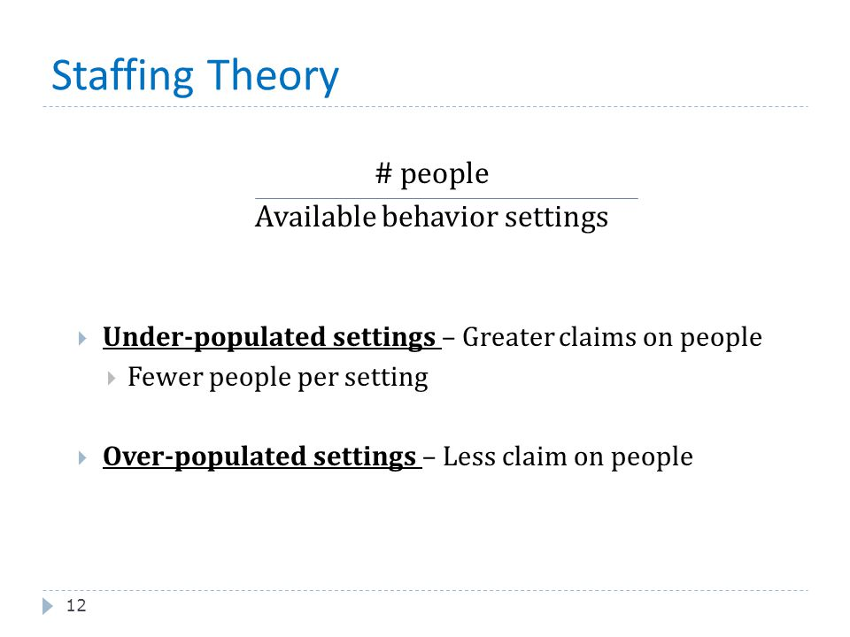 Staffing Theory 12 # people Available behavior settings  Under-populated settings – Greater claims on people  Fewer people per setting  Over-popula