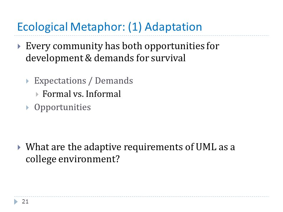 Ecological Metaphor: (1) Adaptation 21  Every community has both opportunities for development & demands for survival  Expectations / Demands  Form