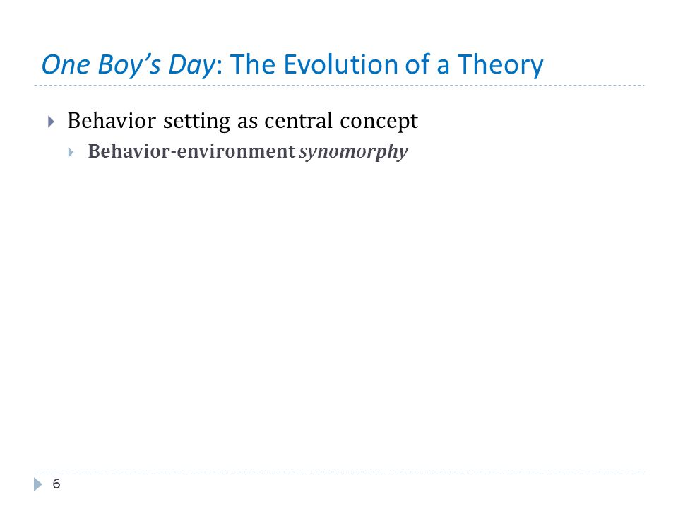 One Boy's Day: The Evolution of a Theory 6  Behavior setting as central concept  Behavior-environment synomorphy