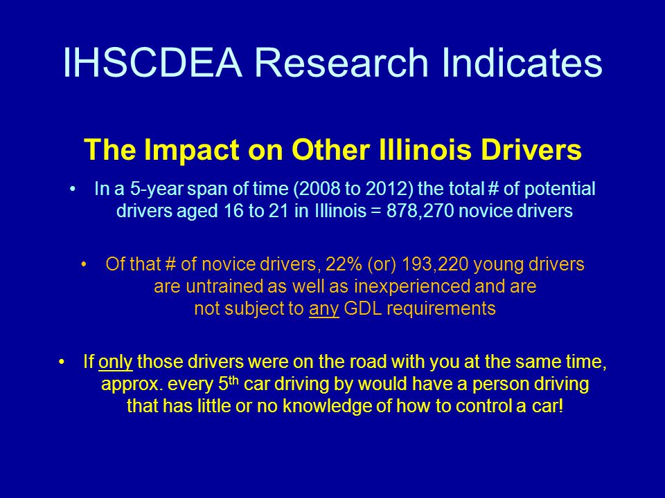 IHSCDEA Research Indicates The Impact on Other Illinois Drivers In a 5-year span of time (2008 to 2012) the total # of potential drivers aged 16 to 21