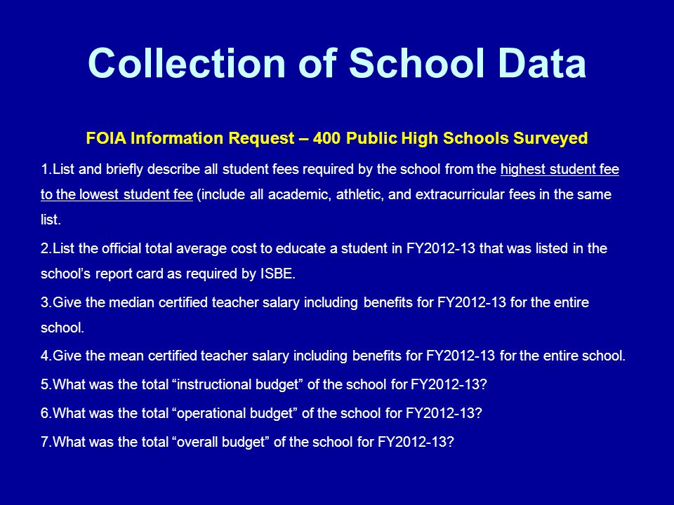 Collection of School Data FOIA Information Request – 400 Public High Schools Surveyed 1.List and briefly describe all student fees required by the school from the highest student fee to the lowest student fee (include all academic, athletic, and extracurricular fees in the same list.