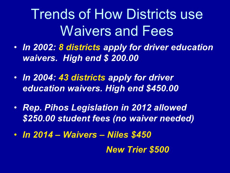 Trends of How Districts use Waivers and Fees In 2002: 8 districts apply for driver education waivers. High end $ 200.00 In 2004: 43 districts apply fo
