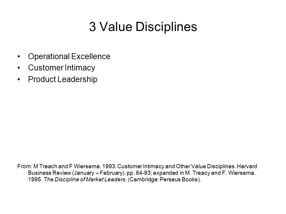 3 Value Disciplines Operational Excellence Customer Intimacy Product Leadership From: M Treach and F Wiersema.