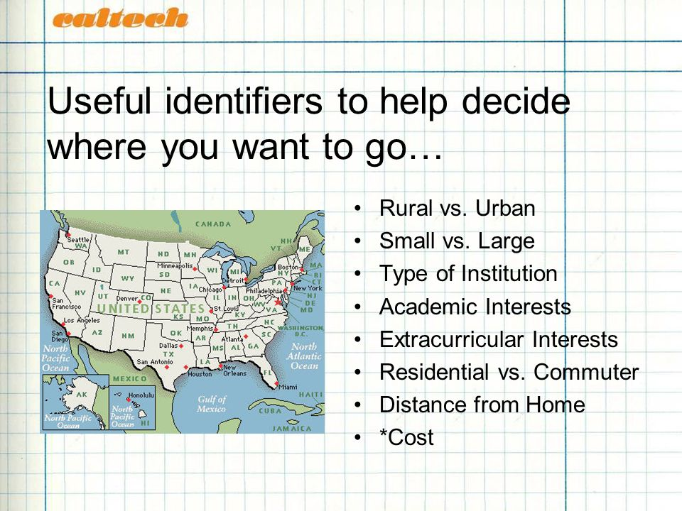 Useful identifiers to help decide where you want to go… Rural vs.