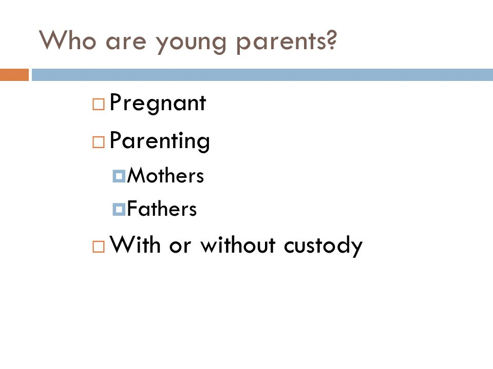 Who are young parents?  Pregnant  Parenting  Mothers  Fathers  With or without custody