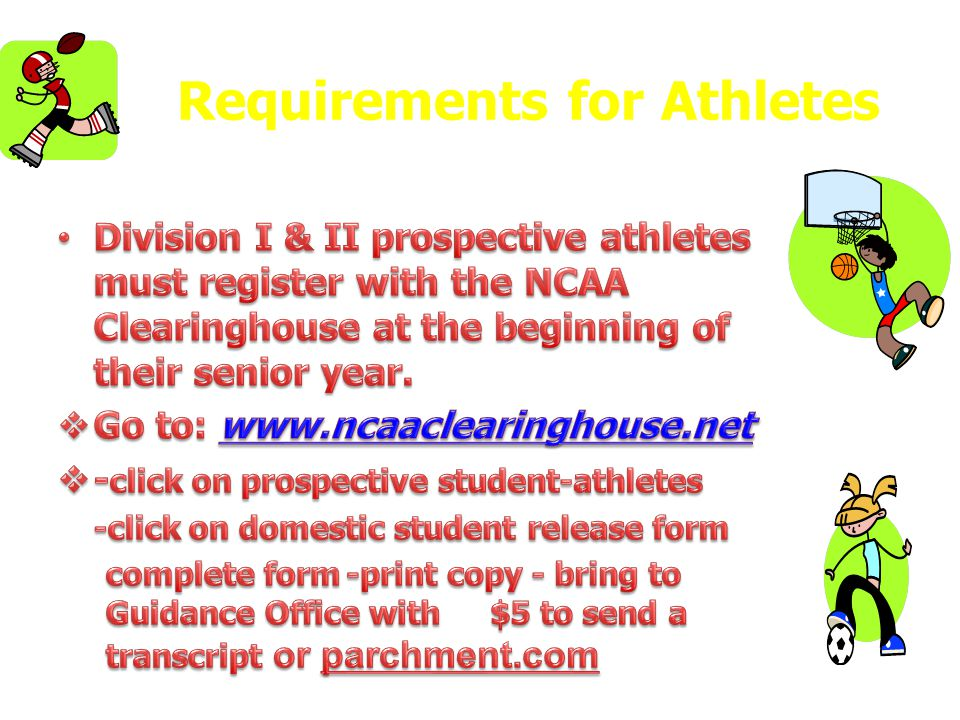 Requirements for Athletes