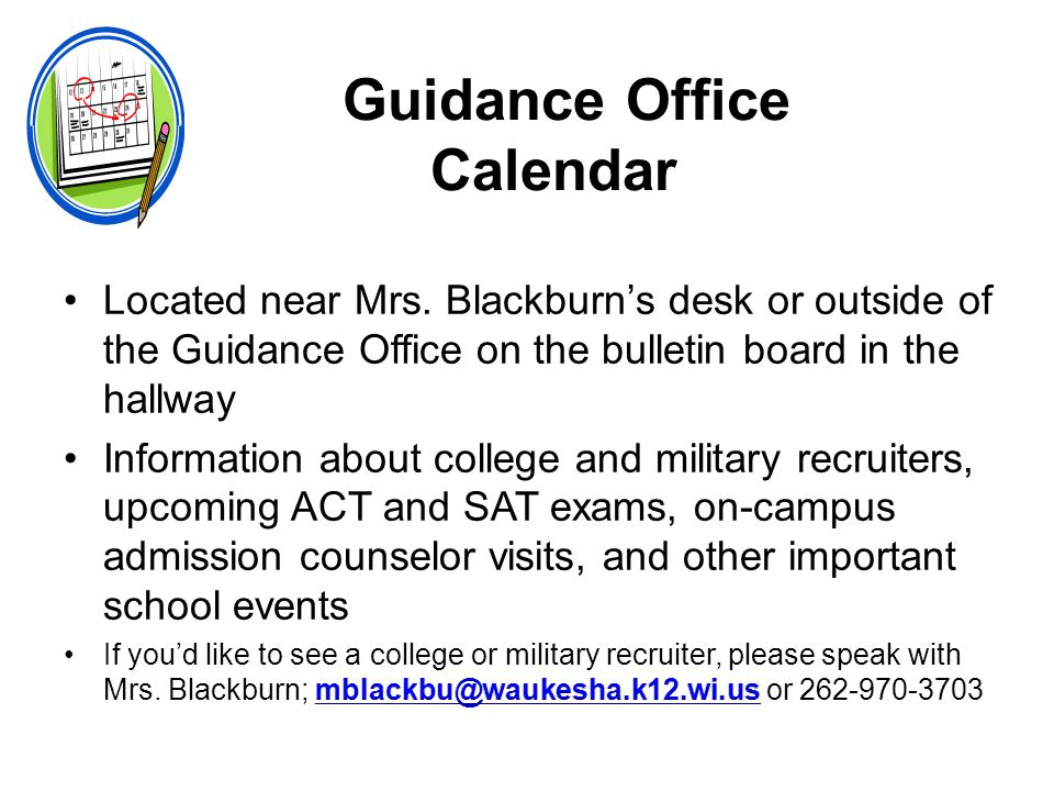 Guidance Office Calendar