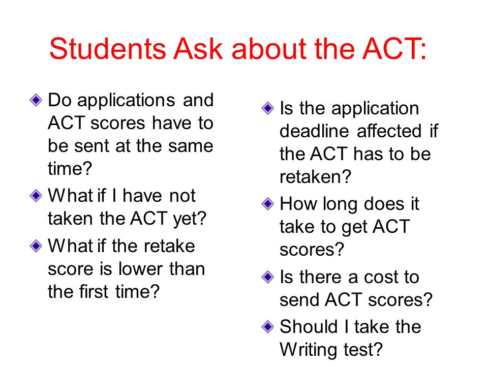 Students Ask about the ACT: Do applications and ACT scores have to be sent at the same time.