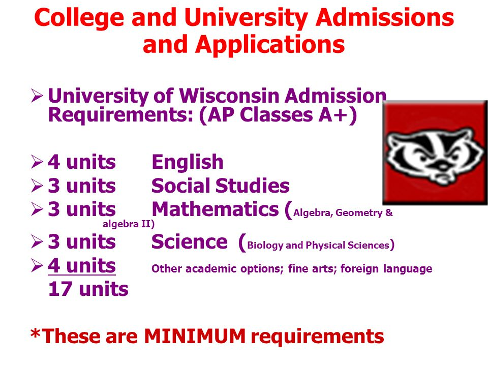 College and University Admissions and Applications  University of Wisconsin Admission Requirements: (AP Classes A+)  4 units English  3 unitsSocial Studies  3 unitsMathematics ( Algebra, Geometry & algebra II)  3 units Science ( Biology and Physical Sciences )  4 units Other academic options; fine arts; foreign language 17 units *These are MINIMUM requirements