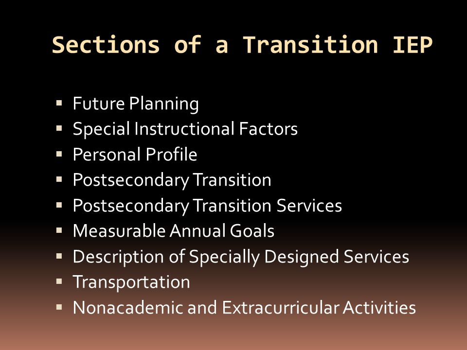 Sections of a Transition IEP  Future Planning  Special Instructional Factors  Personal Profile  Postsecondary Transition  Postsecondary Transition Services  Measurable Annual Goals  Description of Specially Designed Services  Transportation  Nonacademic and Extracurricular Activities
