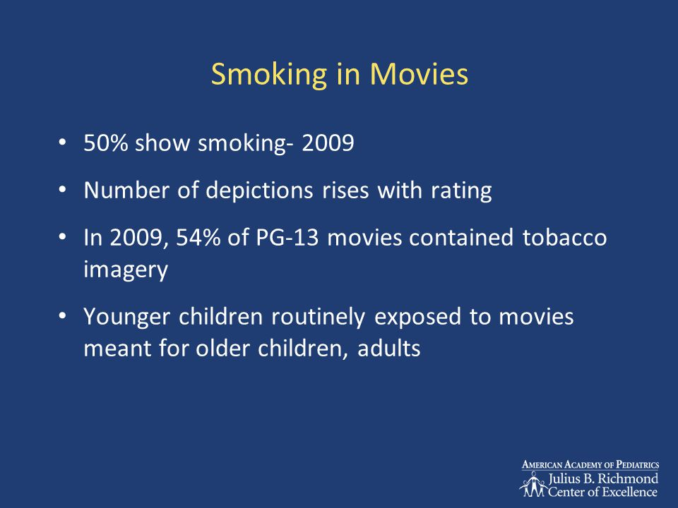 Smoking in Movies 50% show smoking- 2009 Number of depictions rises with rating In 2009, 54% of PG-13 movies contained tobacco imagery Younger children routinely exposed to movies meant for older children, adults